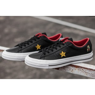 Super Mario Bros Converse One Star Casual Black Canvas Low Chucks Sneakers