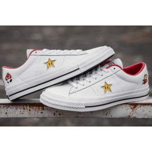 Super Mario Bros Converse One Star Casual White Canvas Low Chucks Sneakers