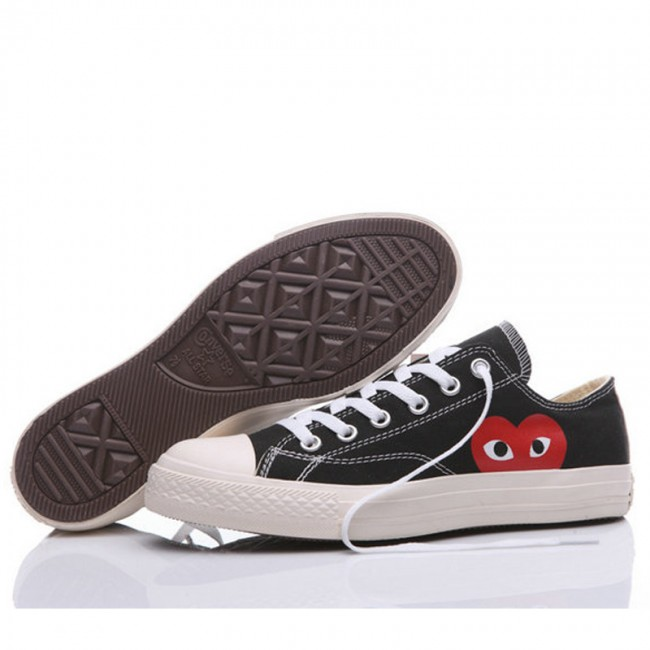 The Originer Converse Comme des Garcons Play Red Heart Big Eyes Black Low Top Shoes