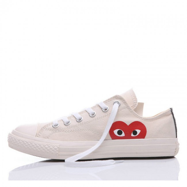 The Originer Converse Comme des Garcons Play Red Heart Big Eyes White Low Top Shoes
